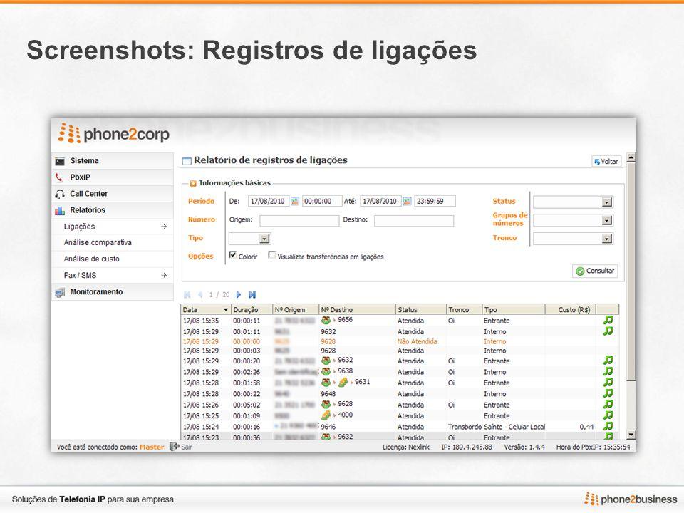 Screenshots: Registros de ligações