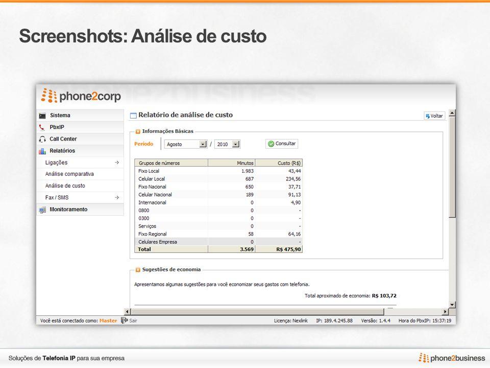Screenshots: Análise de custo