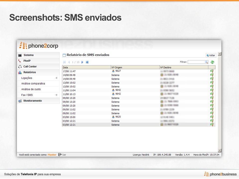 Screenshots: SMS enviados