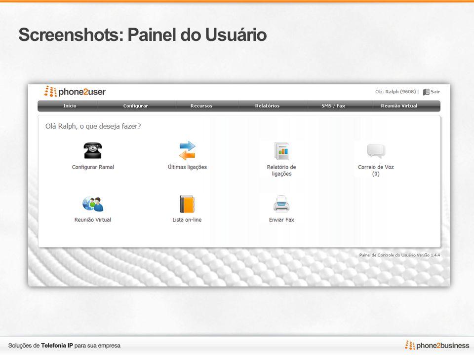 Screenshots: Painel do Usuário