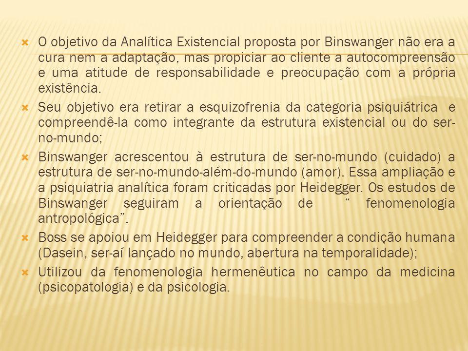 O objetivo da Analítica Existencial proposta por Binswanger não era a cura nem a adaptação, mas propiciar ao cliente a autocompreensão e uma atitude de responsabilidade e preocupação com a própria existência.