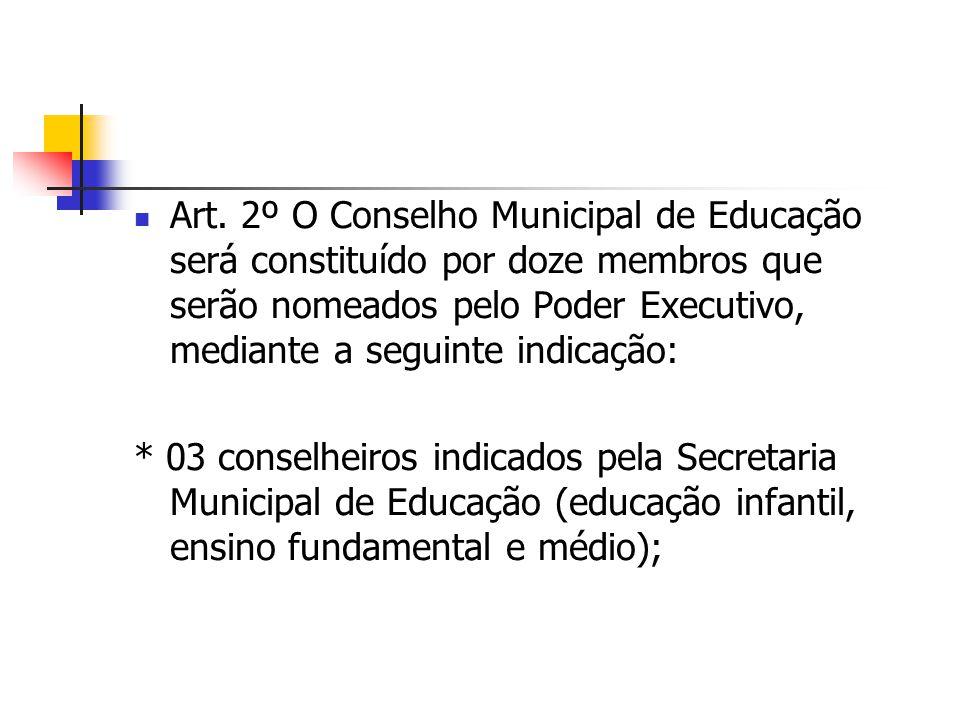 Art. 2º O Conselho Municipal de Educação será constituído por doze membros que serão nomeados pelo Poder Executivo, mediante a seguinte indicação: