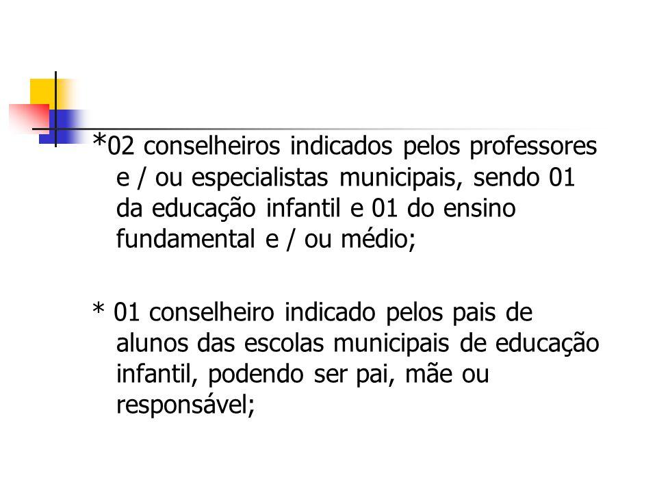 *02 conselheiros indicados pelos professores e / ou especialistas municipais, sendo 01 da educação infantil e 01 do ensino fundamental e / ou médio;