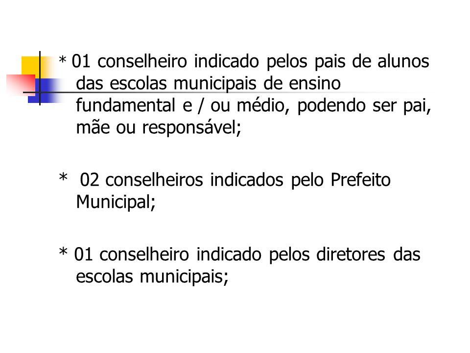 * 02 conselheiros indicados pelo Prefeito Municipal;