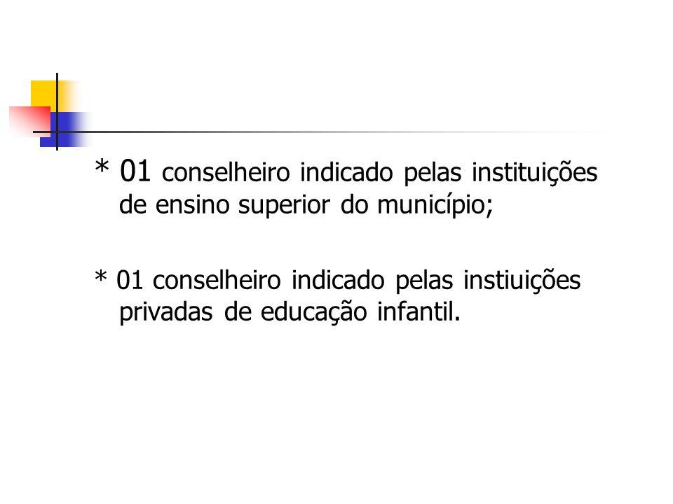 * 01 conselheiro indicado pelas instituições de ensino superior do município;