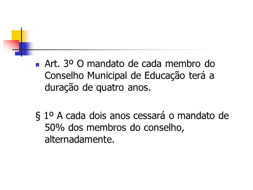 Art. 3º O mandato de cada membro do Conselho Municipal de Educação terá a duração de quatro anos.