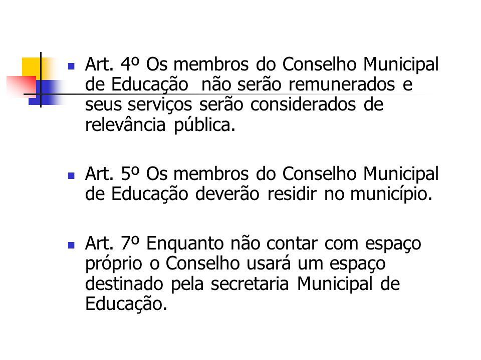 Art. 4º Os membros do Conselho Municipal de Educação não serão remunerados e seus serviços serão considerados de relevância pública.