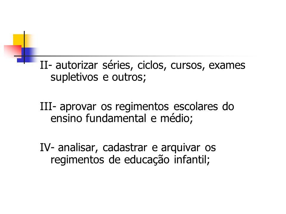 II- autorizar séries, ciclos, cursos, exames supletivos e outros;