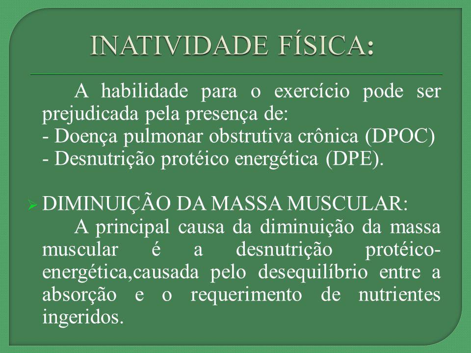 INATIVIDADE FÍSICA: A habilidade para o exercício pode ser prejudicada pela presença de: - Doença pulmonar obstrutiva crônica (DPOC)