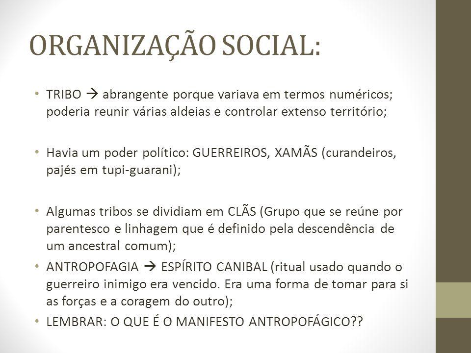 ORGANIZAÇÃO SOCIAL: TRIBO  abrangente porque variava em termos numéricos; poderia reunir várias aldeias e controlar extenso território;