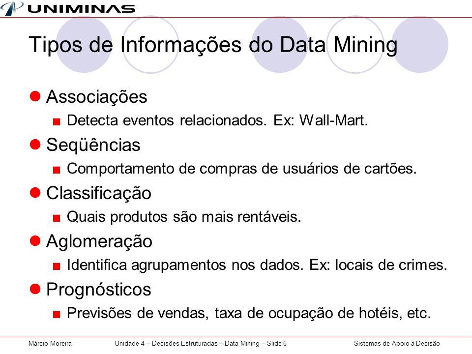 Tipos de Informações do Data Mining