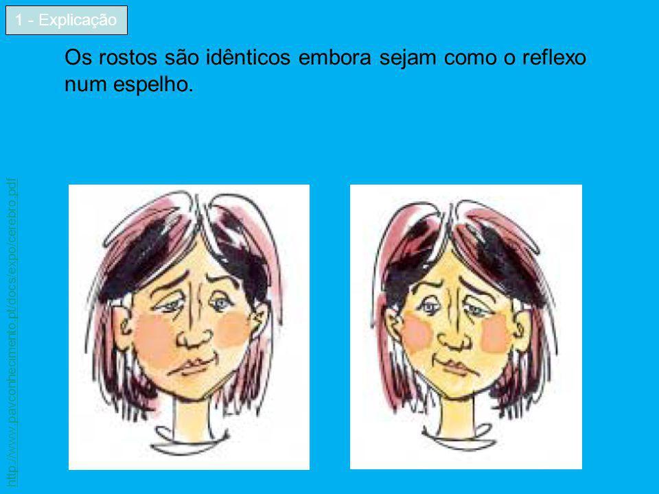 Os rostos são idênticos embora sejam como o reflexo num espelho.