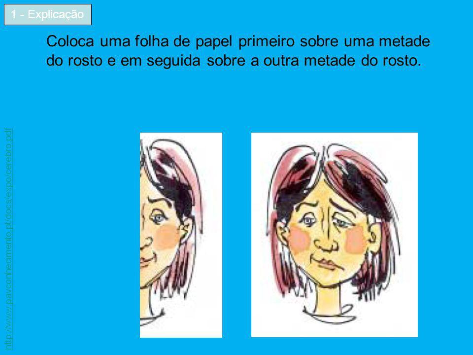 1 - Explicação Coloca uma folha de papel primeiro sobre uma metade do rosto e em seguida sobre a outra metade do rosto.