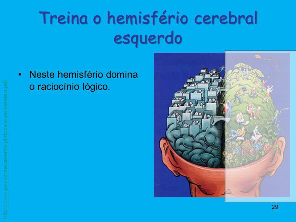 Treina o hemisfério cerebral esquerdo