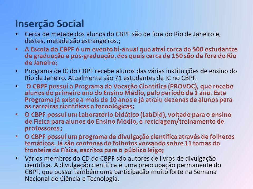 Inserção Social Cerca de metade dos alunos do CBPF são de fora do Rio de Janeiro e, destes, metade são estrangeiros.;
