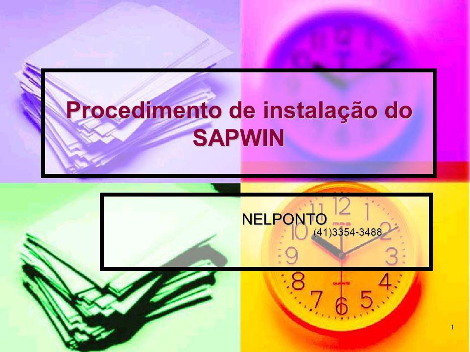 Procedimento de instalação do SAPWIN