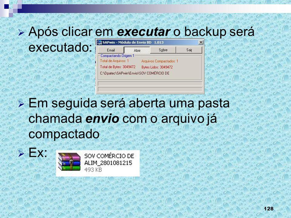 Após clicar em executar o backup será executado: