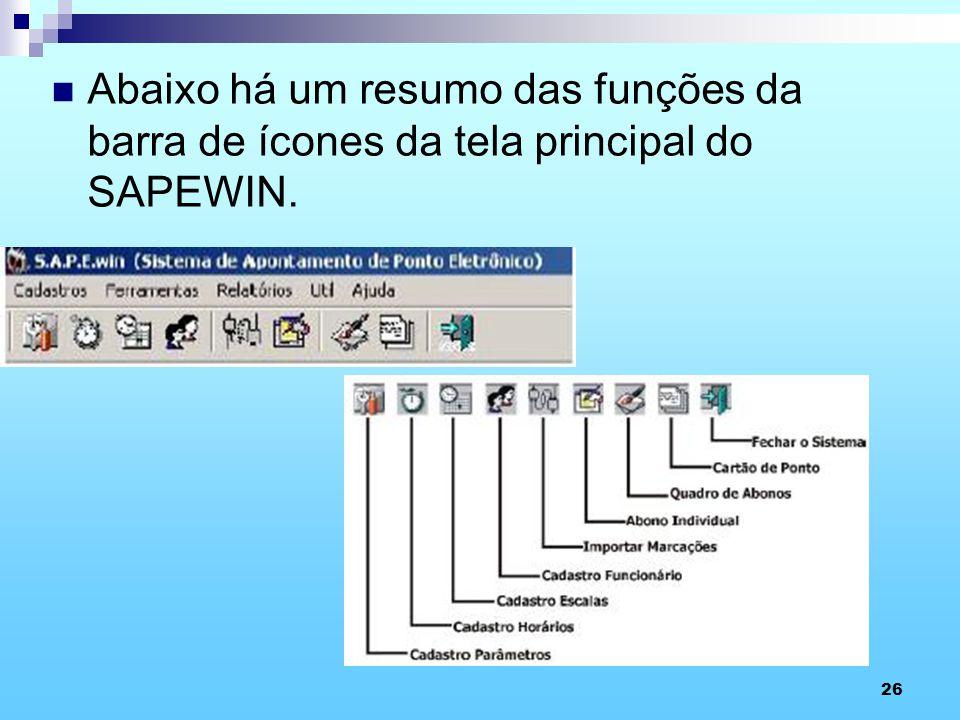Abaixo há um resumo das funções da barra de ícones da tela principal do SAPEWIN.