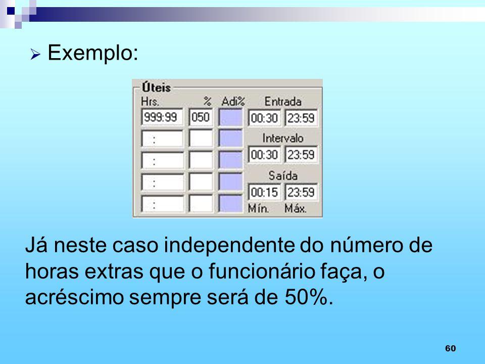 Exemplo: Já neste caso independente do número de horas extras que o funcionário faça, o acréscimo sempre será de 50%.