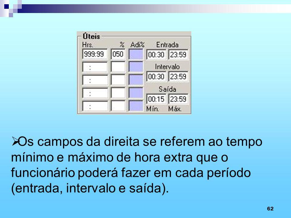 Os campos da direita se referem ao tempo mínimo e máximo de hora extra que o funcionário poderá fazer em cada período (entrada, intervalo e saída).