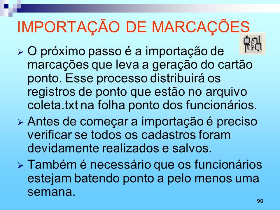 IMPORTAÇÃO DE MARCAÇÕES