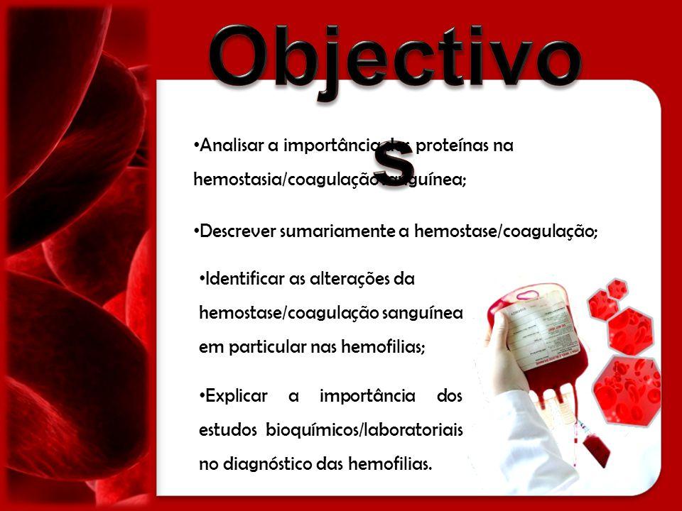 Objectivos Analisar a importância das proteínas na hemostasia/coagulação sanguínea; Descrever sumariamente a hemostase/coagulação;