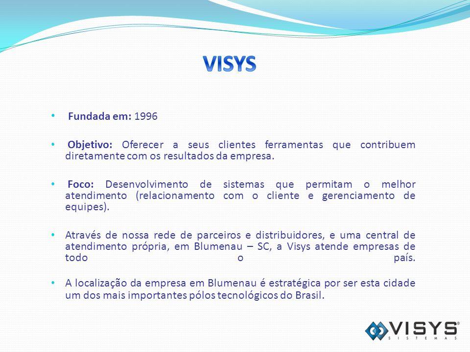 VISYS Fundada em: 1996. Objetivo: Oferecer a seus clientes ferramentas que contribuem diretamente com os resultados da empresa.