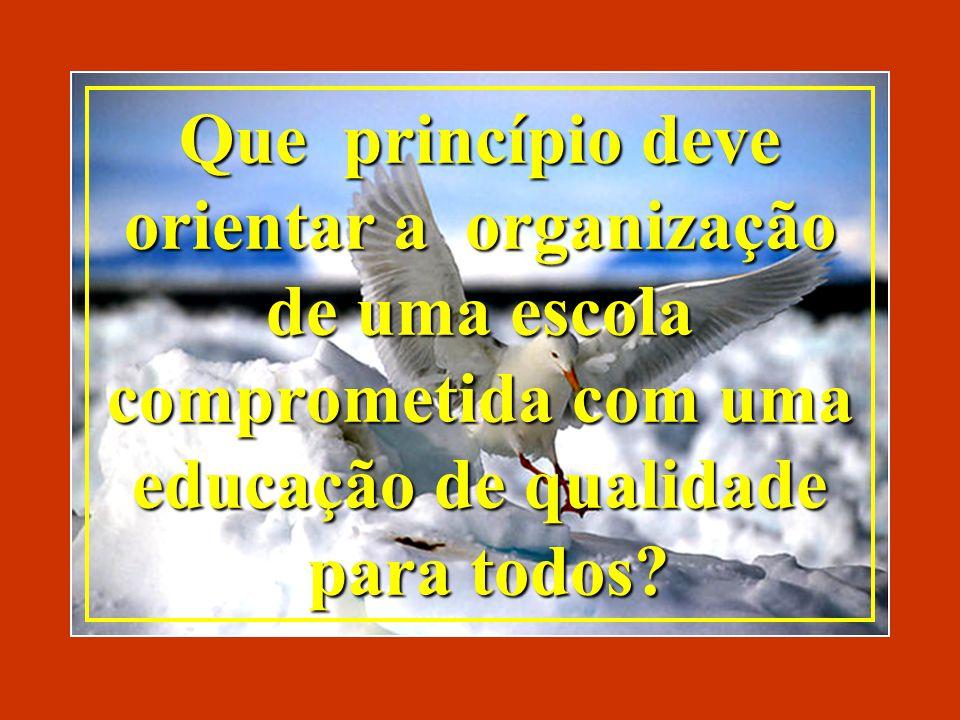 Que princípio deve orientar a organização de uma escola comprometida com uma educação de qualidade