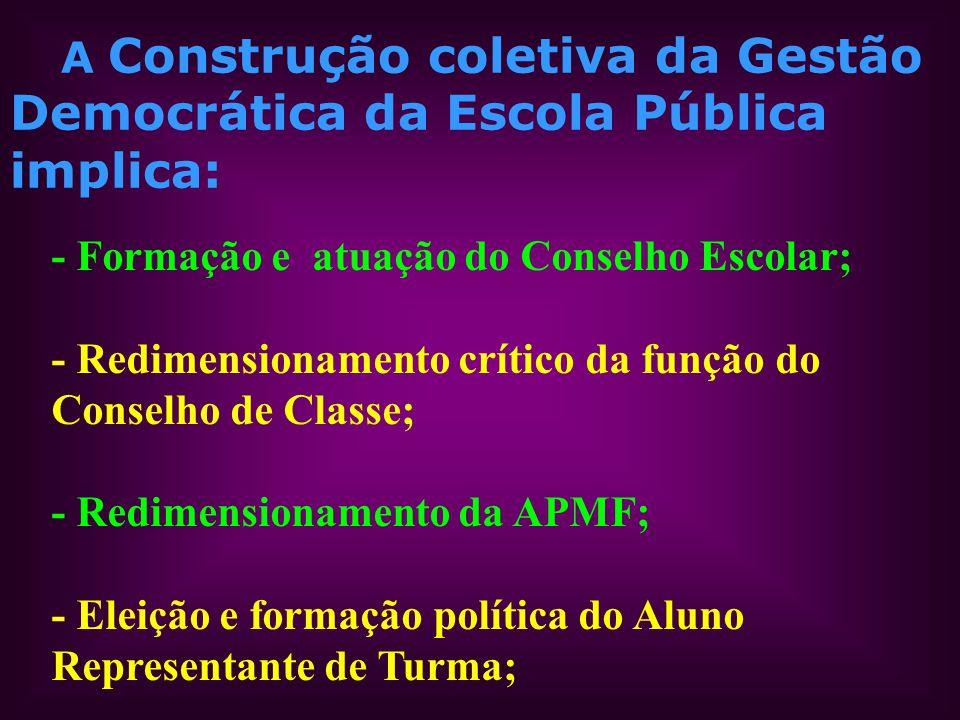 A Construção coletiva da Gestão Democrática da Escola Pública implica: