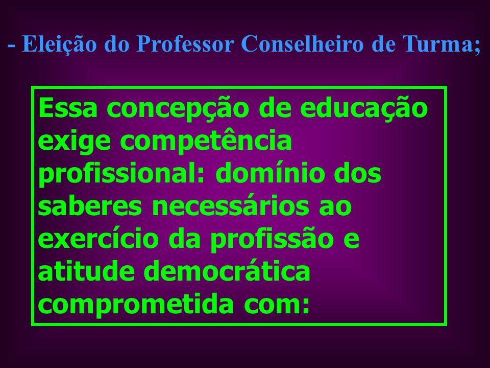 - Eleição do Professor Conselheiro de Turma;