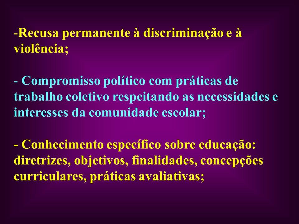 Recusa permanente à discriminação e à violência;