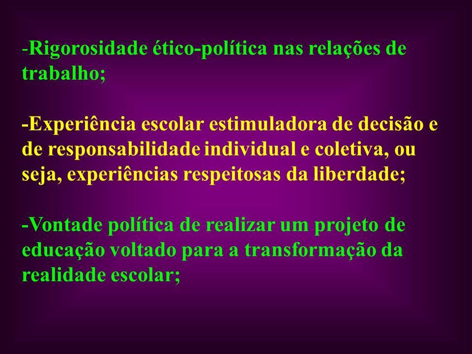 Rigorosidade ético-política nas relações de trabalho;
