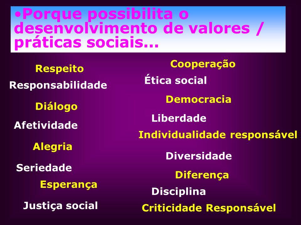 Porque possibilita o desenvolvimento de valores / práticas sociais...