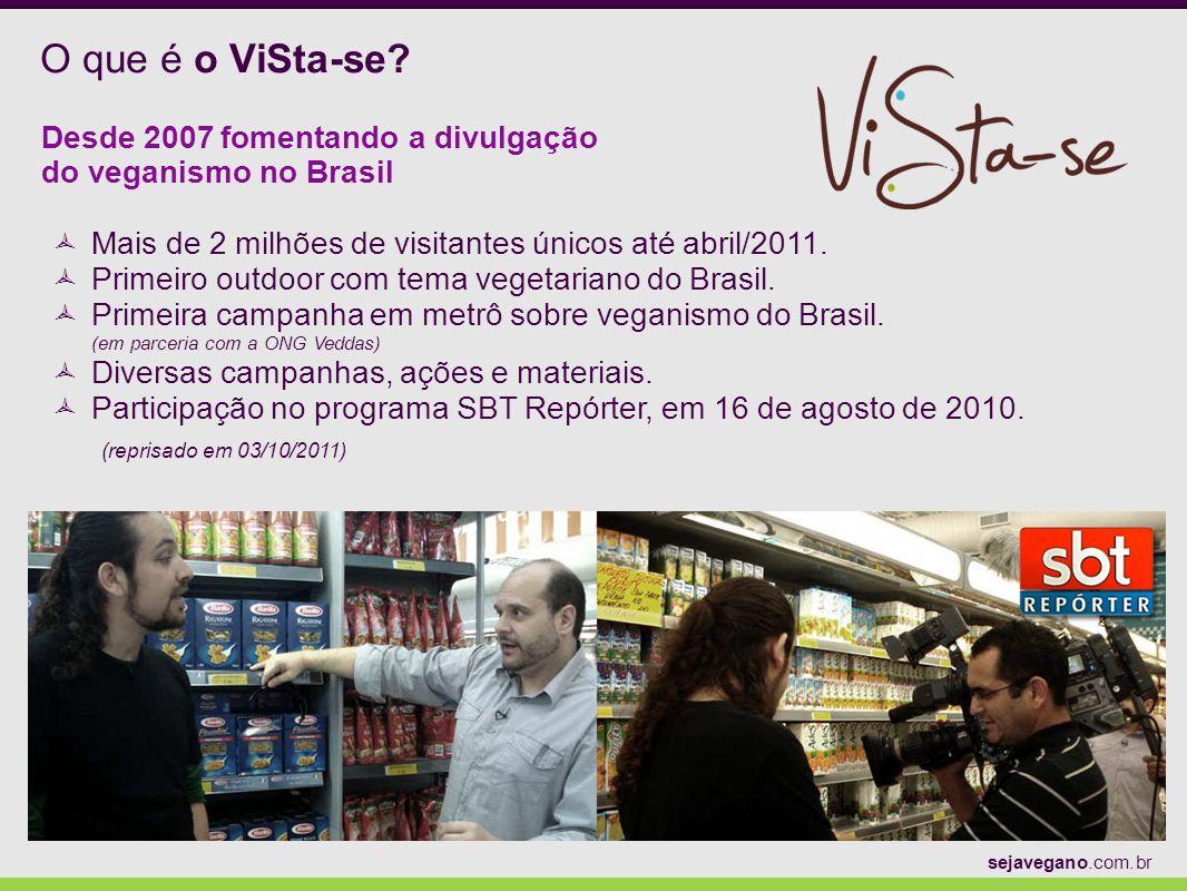 O que é o ViSta-se Desde 2007 fomentando a divulgação do veganismo no Brasil. Mais de 2 milhões de visitantes únicos até abril/2011.
