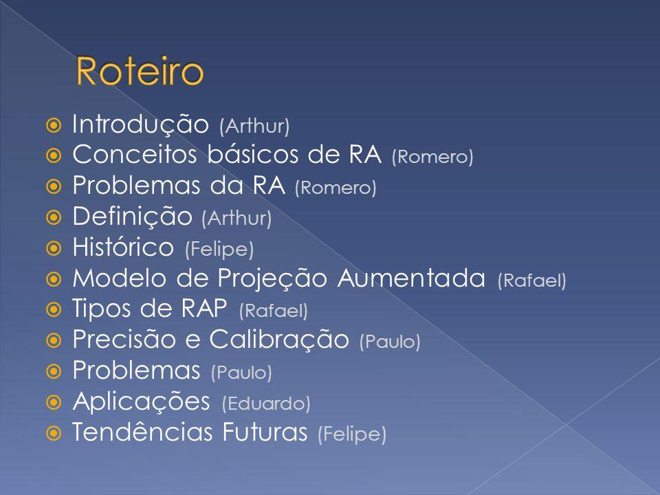 Roteiro Introdução (Arthur) Conceitos básicos de RA (Romero)