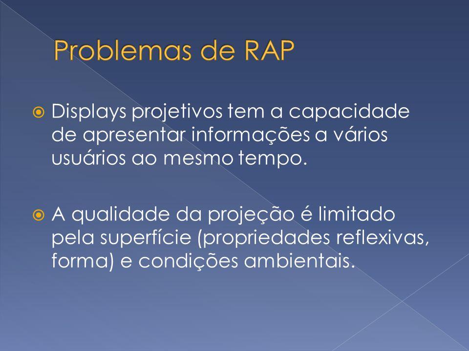 Problemas de RAP Displays projetivos tem a capacidade de apresentar informações a vários usuários ao mesmo tempo.