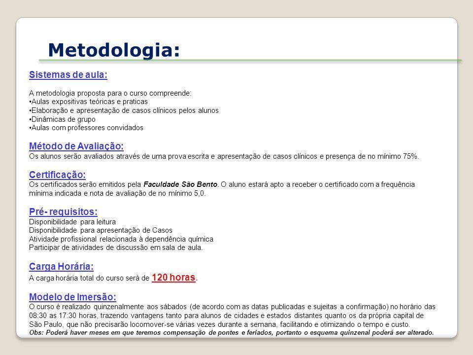 Metodologia: Sistemas de aula: Método de Avaliação: Certificação: