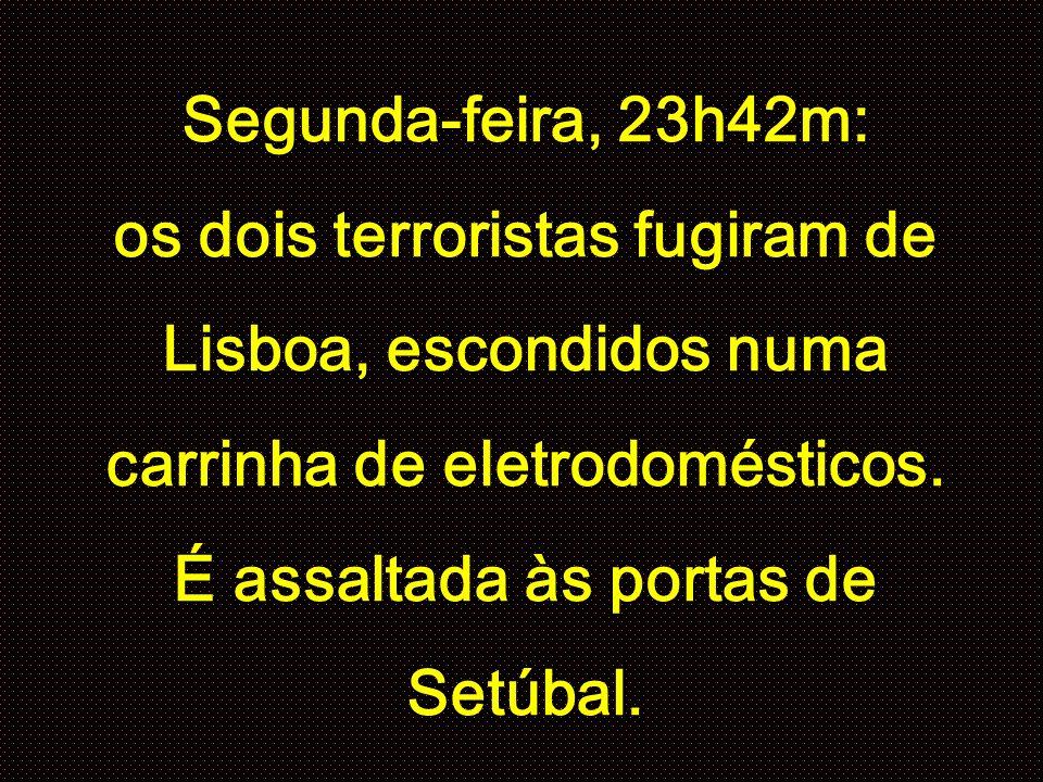 Segunda-feira, 23h42m: os dois terroristas fugiram de Lisboa, escondidos numa carrinha de eletrodomésticos.