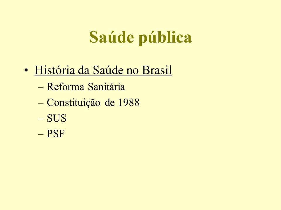 Saúde pública História da Saúde no Brasil Reforma Sanitária