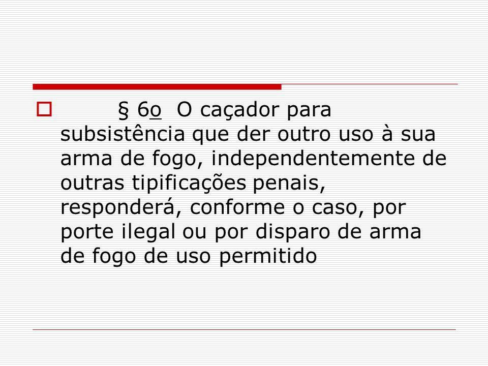 § 6o O caçador para subsistência que der outro uso à sua arma de fogo, independentemente de outras tipificações penais, responderá, conforme o caso, por porte ilegal ou por disparo de arma de fogo de uso permitido