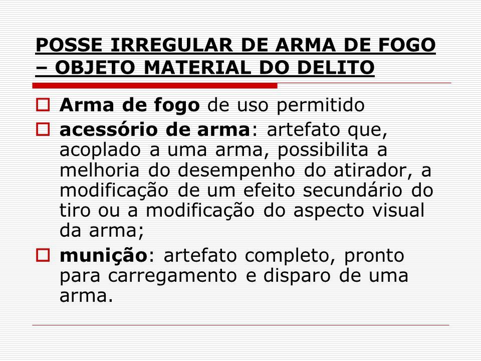 POSSE IRREGULAR DE ARMA DE FOGO – OBJETO MATERIAL DO DELITO