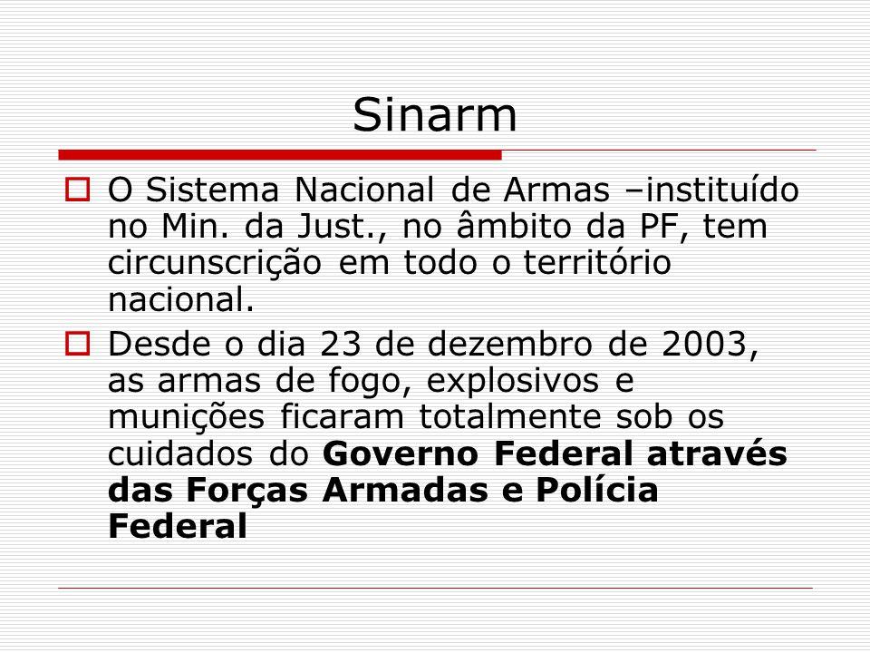 Sinarm O Sistema Nacional de Armas –instituído no Min. da Just., no âmbito da PF, tem circunscrição em todo o território nacional.