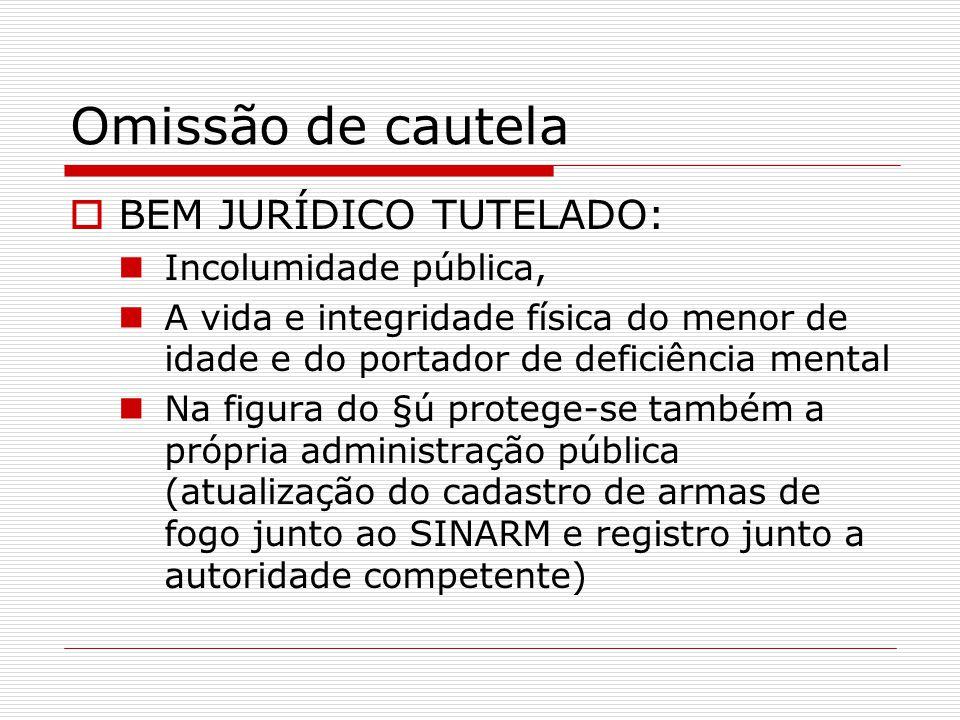 Omissão de cautela BEM JURÍDICO TUTELADO: Incolumidade pública,