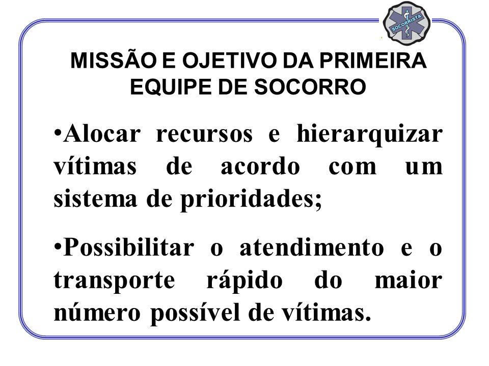 MISSÃO E OJETIVO DA PRIMEIRA EQUIPE DE SOCORRO