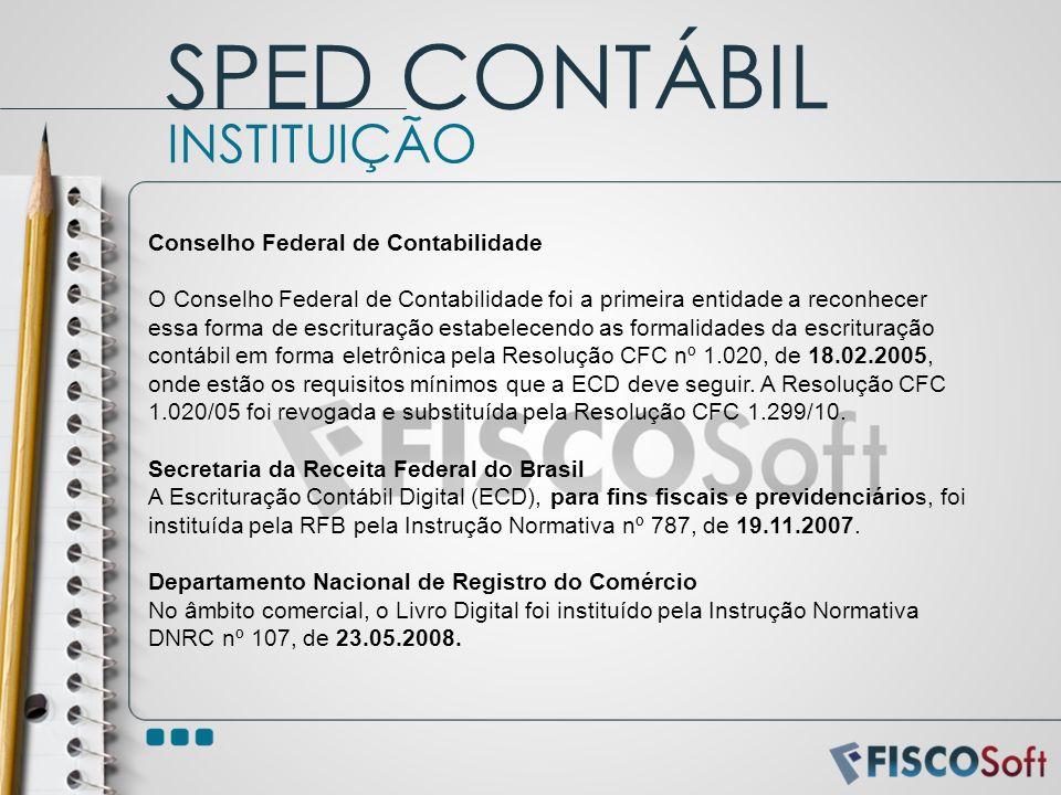 SPED CONTÁBIL INSTITUIÇÃO Conselho Federal de Contabilidade