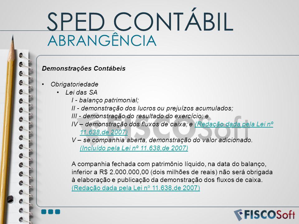 SPED CONTÁBIL ABRANGÊNCIA Demonstrações Contábeis Obrigatoriedade