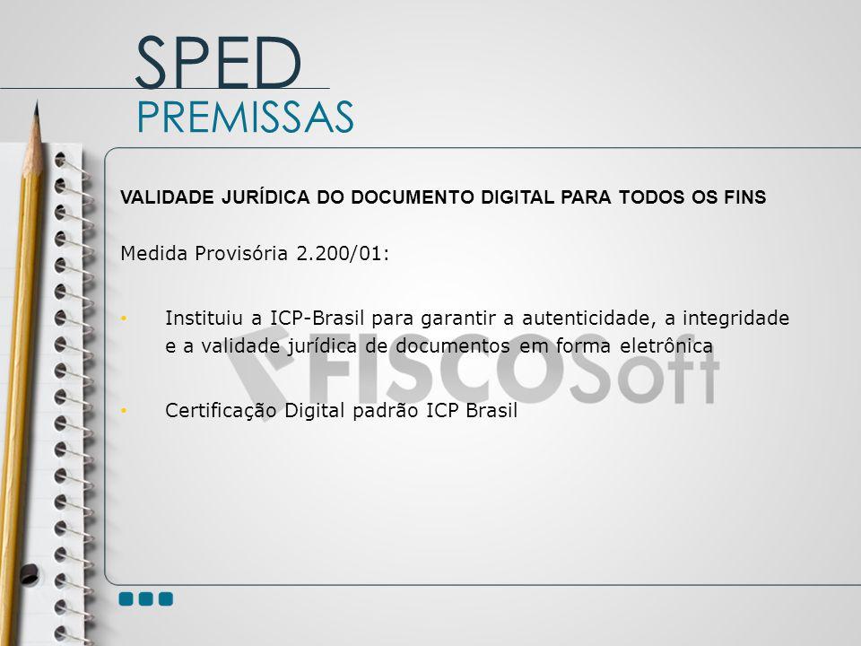 SPED PREMISSAS. VALIDADE JURÍDICA DO DOCUMENTO DIGITAL PARA TODOS OS FINS. Medida Provisória 2.200/01: