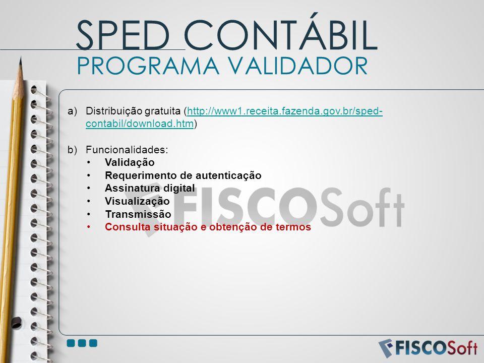 SPED CONTÁBIL PROGRAMA VALIDADOR