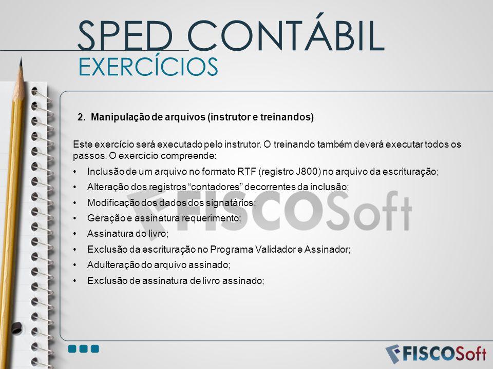 SPED CONTÁBIL EXERCÍCIOS