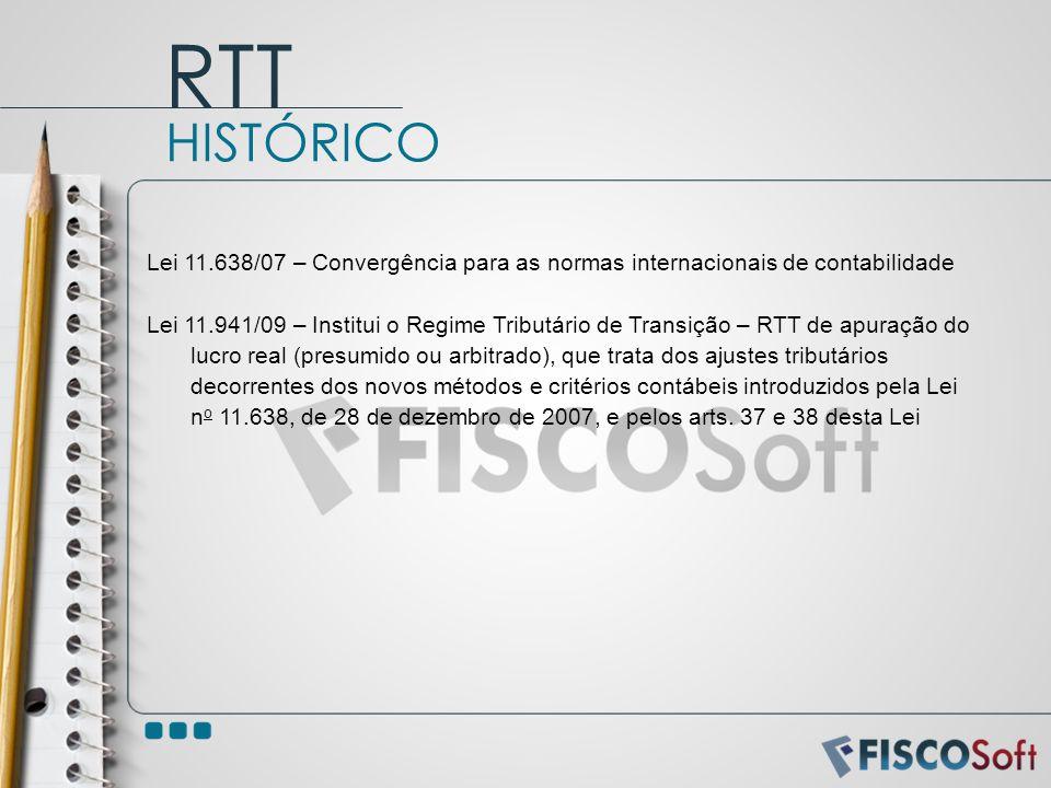 RTT HISTÓRICO. Lei 11.638/07 – Convergência para as normas internacionais de contabilidade.